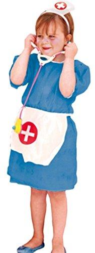 Rollstuhl Mit Einem Kostüm - Halloweenia - Mädchen Kostüm Krankenschwester mit Kleid, Kopfteil und Stethoskop , 110/116, Blau