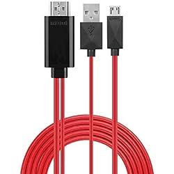 Phoebe 168 Câble adaptateur Téléphone vers TV MHL Micro USB vers HDMI 1080P HDTV 1,98 m 11 broches, pour Samsung Galaxy S5/S4/S3/Note 2/Note3 Galaxy Tab 3 8.0, Tab 3 10.1, Tab Pro, Galaxy Note 8