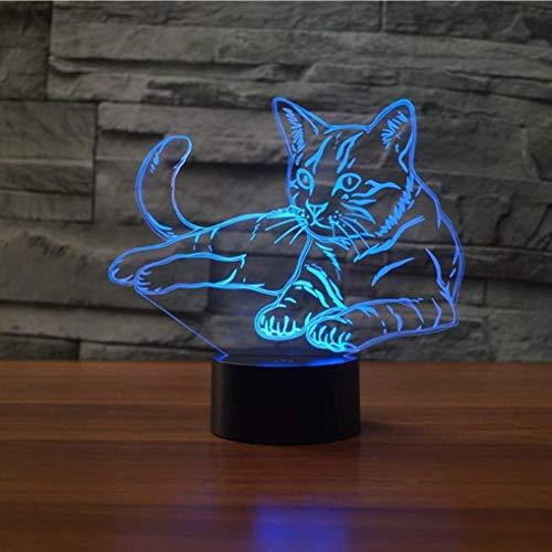 Kreative 3D Katze Nacht Licht 7 Farben Andern Sich USB Adapter Touch Schalter Dekor Lampe Optische Täuschung Lampe LED Lampe Tisch Kinder Brithday Weihnachten Geschenke