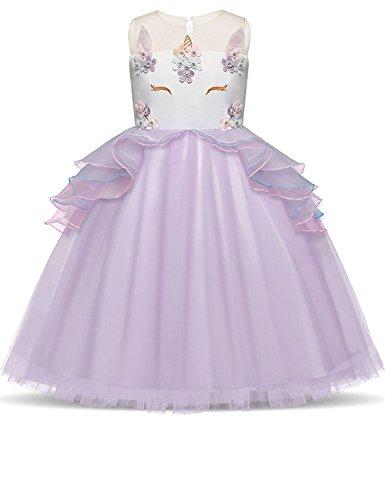 �m Sommer Kleider Mädchen Festlich Cosplay Party Prinzessin Tutu Rock für Festival Performance Geburtstag Karneval Halloween Fotoshooting für Kinder Jugendliche 3-4 Jahre Lila (Die Besten Halloween-kostüme Für Familie 3)