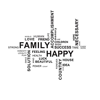 decalmile Wall Decals Quotes FAMILY HAPPY Vinyl Black Wall Letters Stickers Removable Family Wall Art for Living Room Bedroom Office