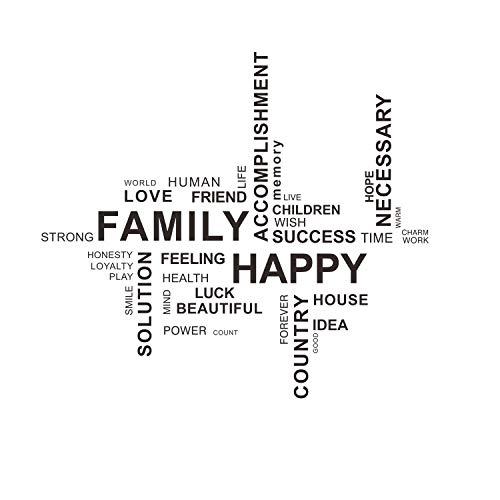 Decalmile family happy adesivi murali scritte e irregolare frasi removibile adesivi da parete decorazioni per soggiorno camera da letto