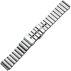 Uhrenarmband 18mm Edelstahl silber, matt gebürstet - Ersatzband aus Metall - Metallband mit Dornschließe - Armband für Uhren - Inkl. Wechselanstoß 20mm - Uhrenarmbänder von Marburger seit 1945