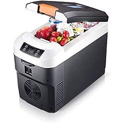 ZHAS Réfrigérateur de Voiture 10 litres Mini réfrigérateur portatif à Deux noyaux Refroidisseur et réchauffeur 12V / 24V CC / 220V AC Mini-boîte de Rangement réfrigérée électrique Portable pour l