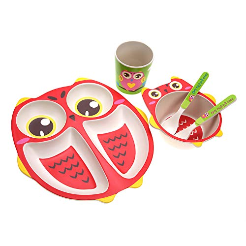Set da Tavola per Bambini 5 Pezzi Forma di Gufo Fibra di Bamboo 4 Slot Cartone Animato Piatto Ciotola Tazza Forchetta Cucchiaio Stoviglie per Bambini
