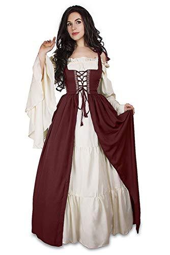 Jerho Damen Langarm Viktorianischen Königin Kostüm- Mittelalterkleid Cosplay Kostüm Prinzessin Renaissance