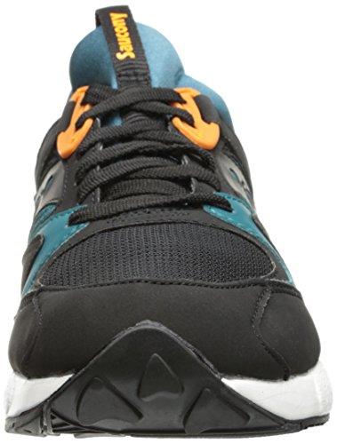 Sneaker Saucony Grid 9000 in camoscio e tessuto nero e ottanio Schwarz