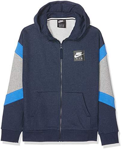 Nike B NK Air Hoodie Fz Sweat-Shirt de Sport à Capuche Garçon, Bleu (Obsidianheather/DK Grey Heather/Black 473), 158 (Taille Fabricant: X-Large)