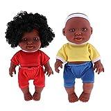 Baoblaze 2pcs Weichkörperpuppe Weichkörper Babypuppe Junge Puppen mit Kleidung, Höhe: 26cm, dunkelhäutig