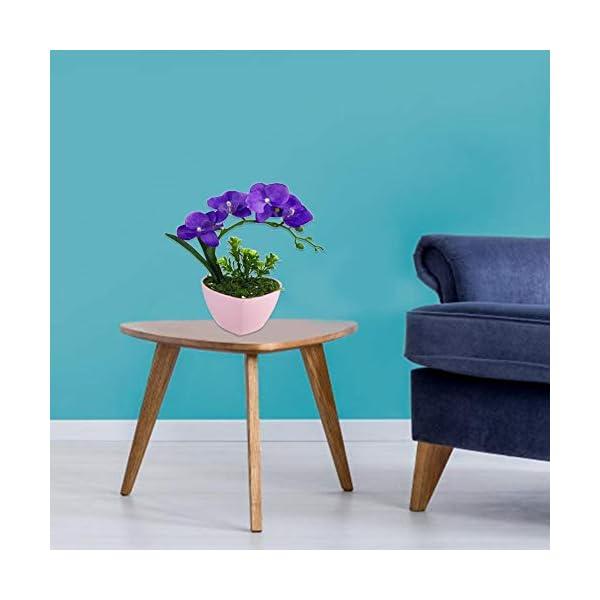 Arreglos de flores de orquídeas artificiales con jarrón de porcelana, planta de flores artificiales en maceta Phalaenopsis Bonsai Set