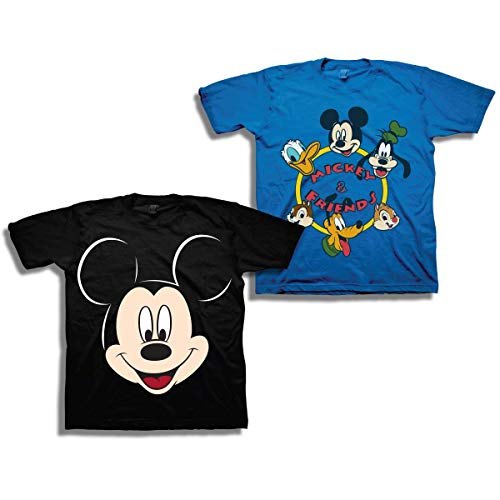 Disney Boys Mickey Mouse Shirt ?Çô 2 Pack of Mickey Mouse Tees ?Çô Mickey Mouse, Donald Duck, Goofy, Pluto, and Minnie Mouse (Blue/Black, 4T)