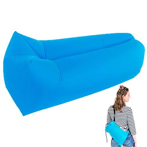 Preisvergleich Produktbild Yootu Aufblasbare Liege mit Luftventil und Mesh, Neue Hängematte Aufblasbare Luftliege Schnelle Inflation von Wind oder Luftpumpe, Wasserdichte Air Bag Stuhl Sofa für Strand, Camping, Pool (Blau)