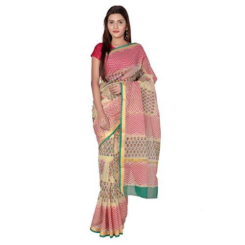 Panvi Kota Doria Cotton Silk Saree With Blouse Peice (P-58_Hand Block Printed...