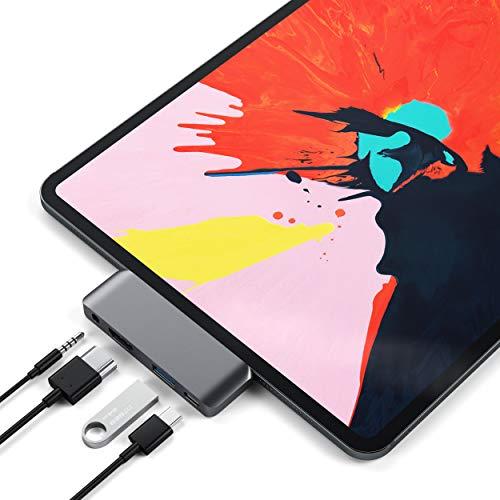 SATECHI Adaptador Hub Móvil Pro Tipo-C de Aluminio con Carga USB-C PD, HDMI 4K, USB 3.0 & Jack de Auriculares de 3.5mm - Compatible con 2018 iPad Pro, Microsoft Surface Go y más (Gris Espacial)