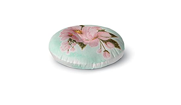 Kess InHouse Christen Treat Fumiko Pink Green Round Floor Pillow 26