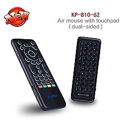 superpow Mini drahtlose Tastatur Touchpad mit Air Maus Doppelseitiges Layout 2,4Ghz Mini Wireless Keyboard und 7 Farb-LED Backlits, IR-Lernfernbedienung (Qwert, deutsches Tastaturlayout)
