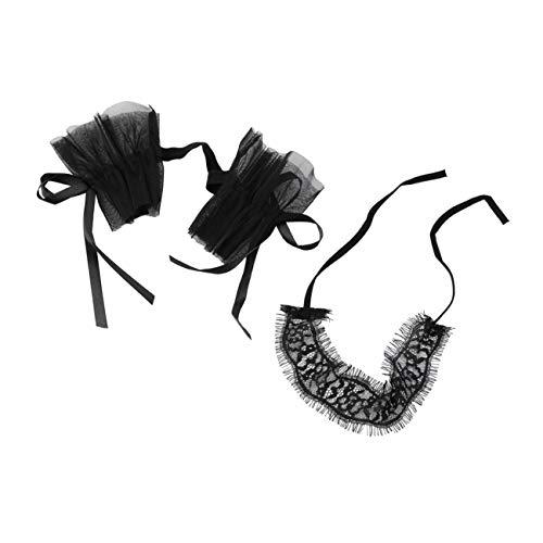 Fannty Frauen-reizvolle Wäsche-Schwarz-Spitze-Augen-Abdeckungen mit 1 Paar Hand Stulpe-Verpackungs-Handschuhe (Genial Paare Kostüm)
