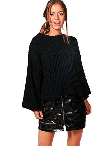 Schwarz Damen Petite Emma Premium-Pullover in Chenille-Optik mit weiten Ärmeln - M-L (Schwarze Chenille-pullover)