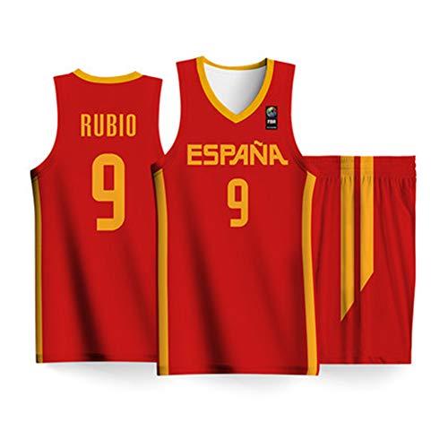 HS-FWJ.HW 2019 FIBA   Basketball World Cup Spanien Ricky Rubio NO.9 Trikotanzug Nationaler Wettkampfanzug Trikot Basketball Trikot,Rot,2XS155~160