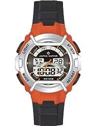 Alpha Saphir 285E - Reloj analógico - digital de caballero de cuarzo con correa de plástico negra (alarma) - sumergible a 100 metros