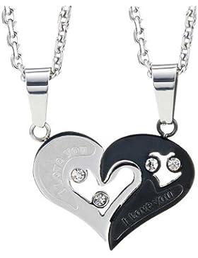 Atemberaubende 2 Stücke Für Sie und Ihn Paare Geschenk Herz Anhänger Liebe Halskette Set für Liebhaber Valentinstag 19