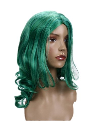 Cosplayland C123 - Sailor Moon Neptune Mittel-parted curly Party mid-long green Wig (peluca)
