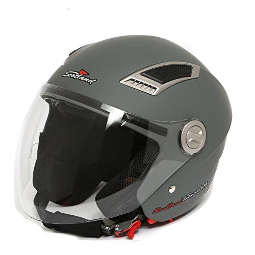 Scotland120009- Casco Jet de moto con visera doble, color antracita mate, 57-58(M)