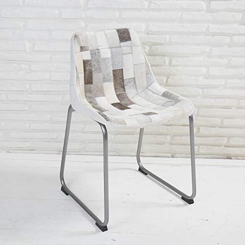 Wholesaler GmbH Designer Esszimmerstuhl Grau mit Bezug aus Patchwork Kuhfell Schalensitz Stuhl
