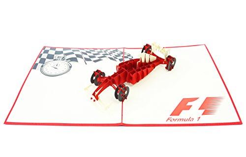 PopLife Cards Formel 1 Auto Vatertag Popup-Karte für alle Gelegenheiten Vatertag, alles Gute zum Geburtstag, Ruhestand, Arbeit Jubiläum, Glückwunsch Rennen Autofahrer, f1, Ferrari Falten flach für Ma