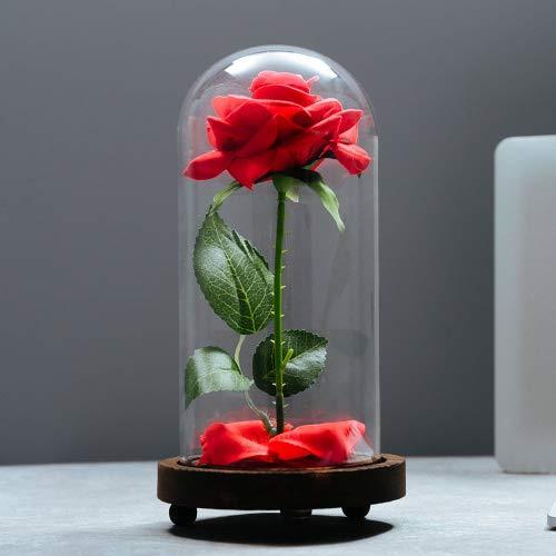 Vgia La Bella E La Bestia Di Rosa In Seta Artificiale In Vetro A Cupola Su Base In Legno Idea Regalo Per San Valentino Anniversari Compleanni