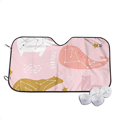 Rterss - Parasol para parabrisas con diseño de oso de ballena y elefante, color rosa, para evitar que el coche se caliente en el interior
