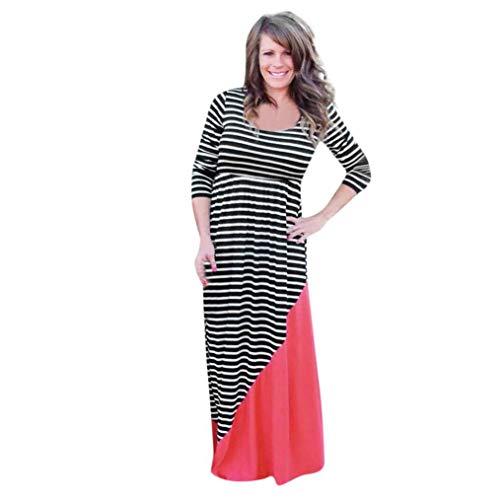 Damen Kleid, Malloom Mama & Ich Frauen Langen Ärmeln Streifen Print Kleid Casual Familie Kleidung Fashion solide ärmellos o-Ausschnitt sexy Perspektive