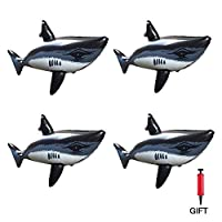 Inflatable Shark 4 Pack Inflatable Toys Shark Decorations with Pump for Luau Party Decoration Beach Backdrop,Blow Up Novelty Shark Baby Pool Float Cartoon Inflatable Swimming Toy for Kids Toddlers