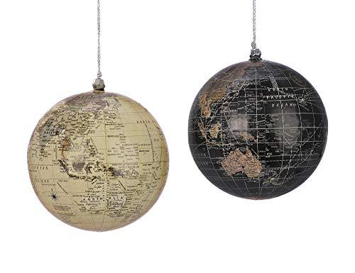zeitzone Christbaumkugeln Globus Weltkugel 2 Stück bruchfest Weihnachtskugeln 10cm
