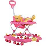 LuvLap Comfy Baby Walker & Rocker, Height Adjustable with Light & Musical Toys, 6m+ (Pink)