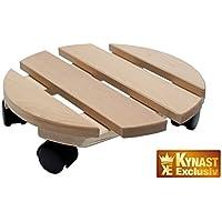 Carrello porta vaso, su ruote, in legno massiccio, rotondo, capacità di portata: 120 kg, dimensioni: 30 cm