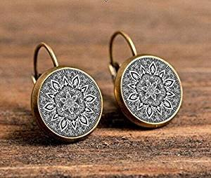 Charm Silber Mandala Ohrringe, Glas auf Ohrring Bronze, schwarz Om Symbol Buddhismus Zen Henna Yoga Ohrring