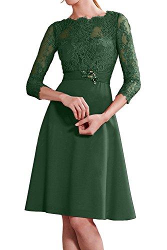 Ivydressing Damen Rot Neu Rund Spitze Partykleider Cocktailkleider KnieKurz Abendkleider mit 3/4 Arm Dunkelgruen
