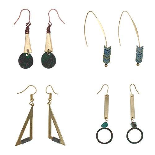 Bunte Hängen (Coolcoco Luxus Mode Dangler Quaste Baumeln Schmuck Ohrringe für Dame Frau Mädchen Prime mit Grün Edelstein(4 paare / set))