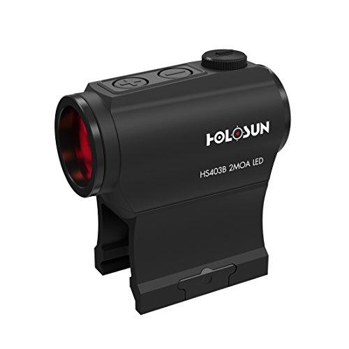 Holosun HS403B Microdot Rotpunkt Visier mit 2MOA Punkt Absehen, schwarz, Picatinny/Weaver Schiene, für die Jagd, Sportschießen und Softair, Tactical Micro red dot Sight - 70127379