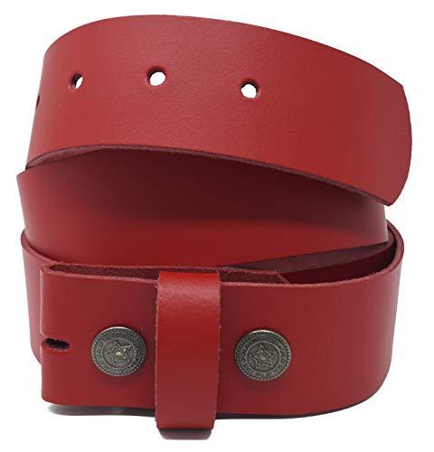 Xeira Cinturón de cuero genuino - Hebilla intercambiable/correa a presión Reg; - Hecho en Alemania/Disponible en negro/marrón/naranja/verde/blanco (115cm, Rojo)