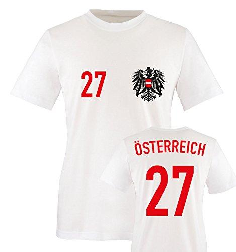Trikot - ÖSTERREICH - 27 - Herren T-Shirt - Weiss/Rot-Schwarz Gr. S