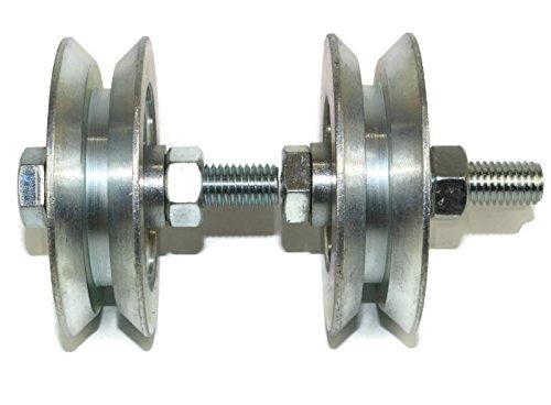 (V79–12) Lot de 2roues pour portail coulissant, roues de poulie en acier avec rainure en V, fabriquées en Union Européenne (79mm de diamètre, tige de12mm)