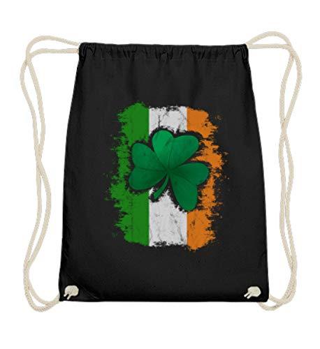 St Patricks Day Irish Flag Shamrock | irisches Kleeblatt auf Irland Flagge für Irland-Fans - Baumwoll Gymsac -37cm-46cm-Schwarz (Patty Day St Shirts)
