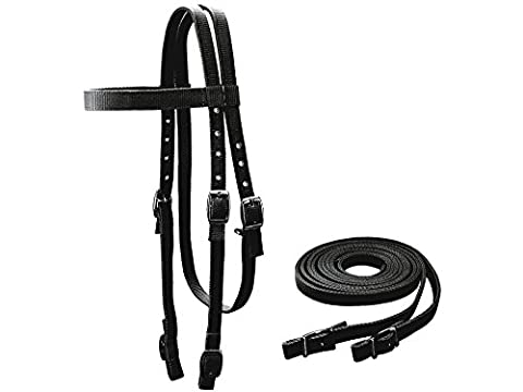 Tahoe Tack Double Layer Nylon Headstall with Reins Full Size, Black