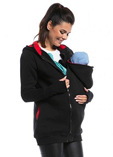 Zeta Ville - Umstand Sweatshirt Babytragens herausnehmbaren Panel - Damen - 059c Schwarz