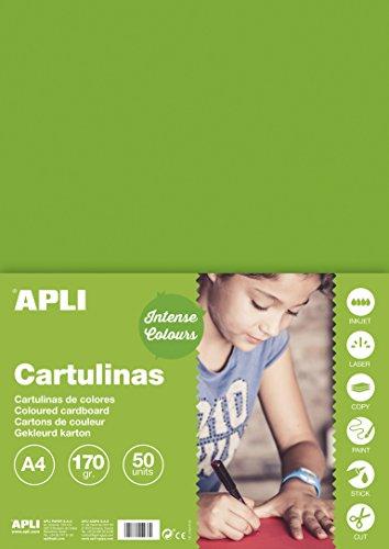 APLI 14240 - Cartulina verde hierba A4 170 g 50 hojas