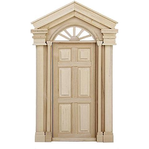 Dollhouse Puerta Exterior de Casa de Muñecas Puerta de Madera de Escala 1:12