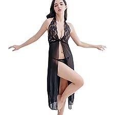 Toamen Ensemble de vêtements de nuit Femmes, Lingerie Dentelle Robe + G-string Ensemble