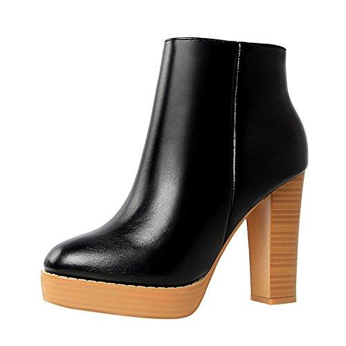 HSXZ Scarpe Donna Primavera in similpelle Comfort stivali scarpe da passeggio Chunky tallone punta tonda Babbucce/Stivaletti fibbia per vestire Khaki Nero Marrone Black